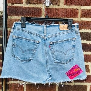 Vintage Levi's Distressed Mini Skirt with Patches